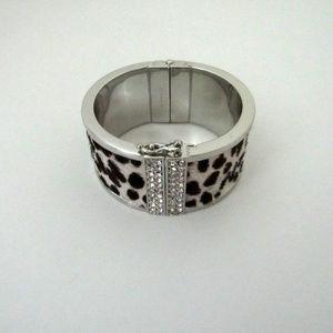 Ann Taylor Silver Faux Fur Leopard Bracelet